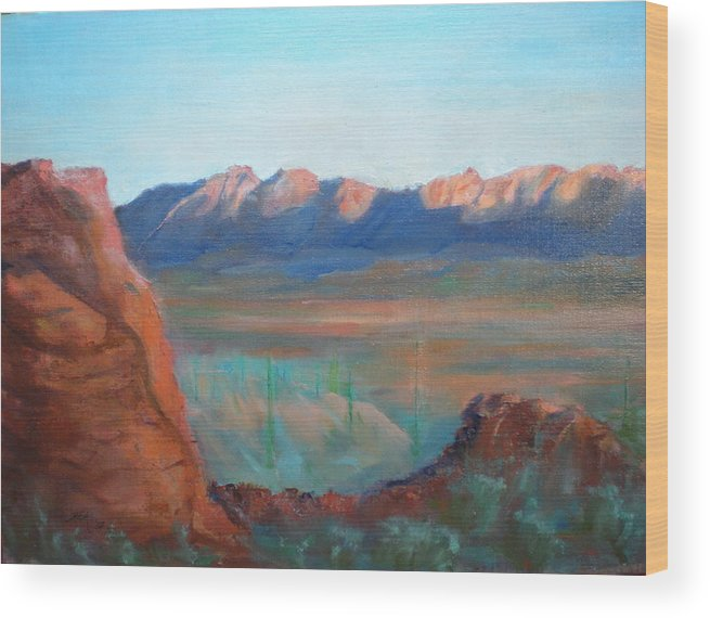 Landscape Wood Print featuring the painting Sand Hollow Panorama by Bryan Alexander