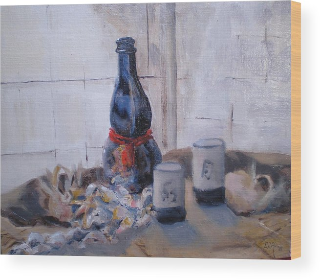 Still Life Wood Print featuring the painting Sea Shells And Sake by Bryan Alexander