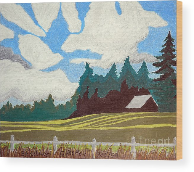 Agriculture Wood Print featuring the painting Shadows by Cora Eklund