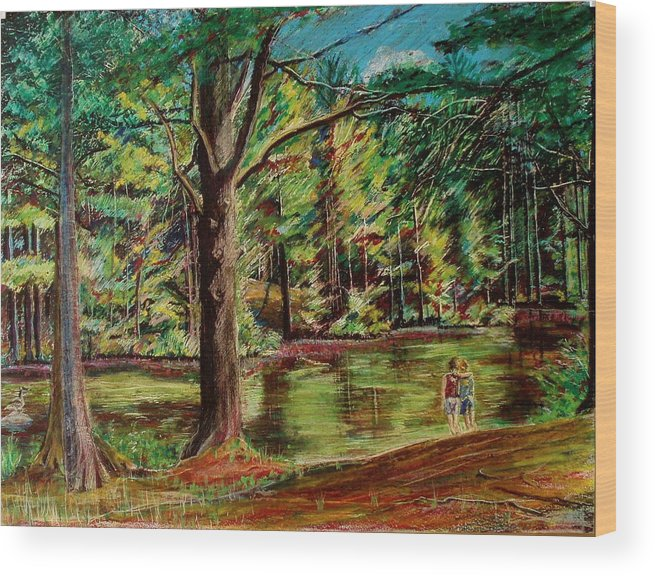New Hampshire Wood Print featuring the pastel Sisters At Wason Pond by Sean Connolly