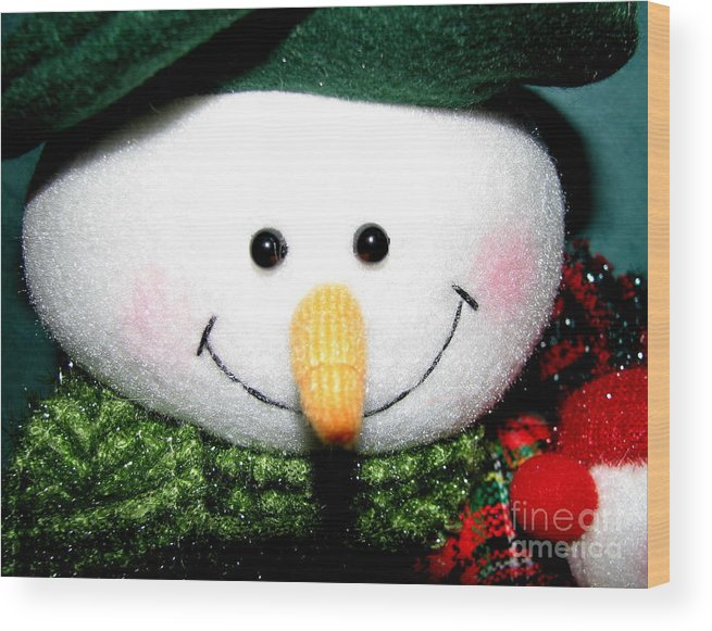 Snowman Wood Print featuring the photograph Snowman Decoration Closeup by Rose Santuci-Sofranko
