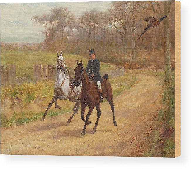 Pheasant; Horse; Shy; Leading; Rein Wood Print featuring the painting Startled by Thomas Blinks