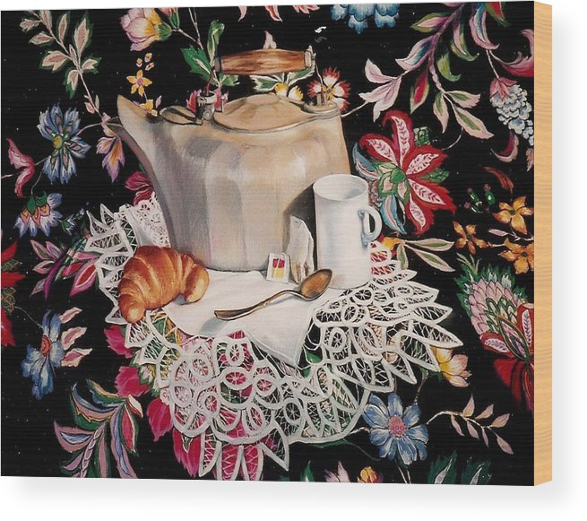 Stillife Wood Print featuring the pastel Still Life With Lace by Constance Drescher