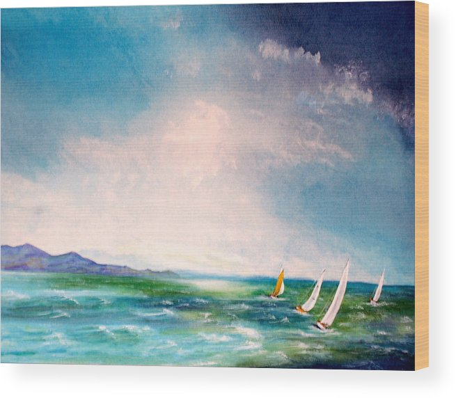 Yacht Wood Print featuring the painting Sweet by Fay Reid