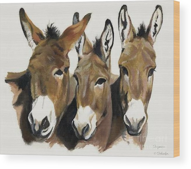 Donkeys Wood Print featuring the painting The Brothers Three by Suzanne Schaefer