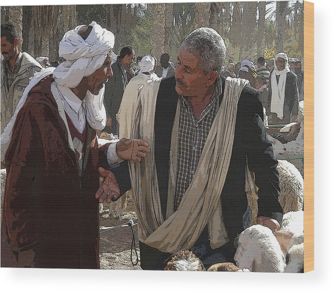 Tunesia Wood Print featuring the photograph The Sheep Market by Donna Lee Young