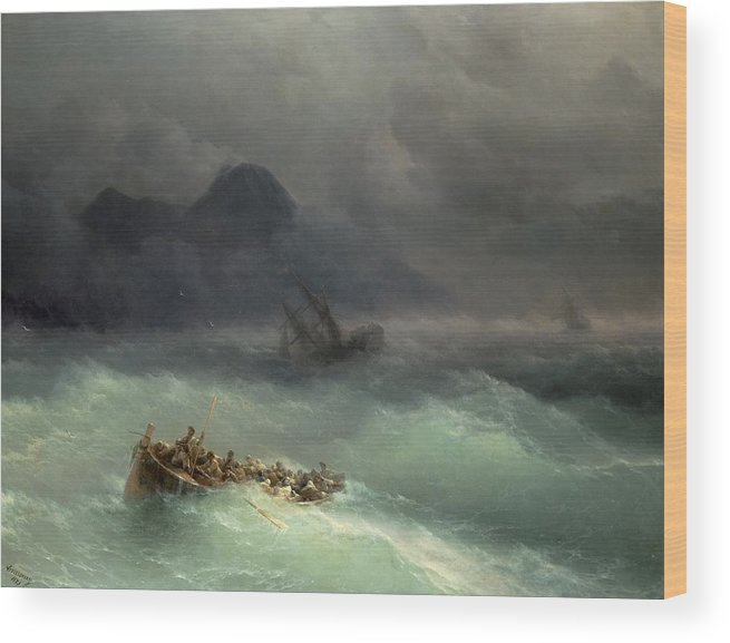 Storm Wood Print featuring the painting The Shipwreck by Ivan Konstantinovich Aivazovsky