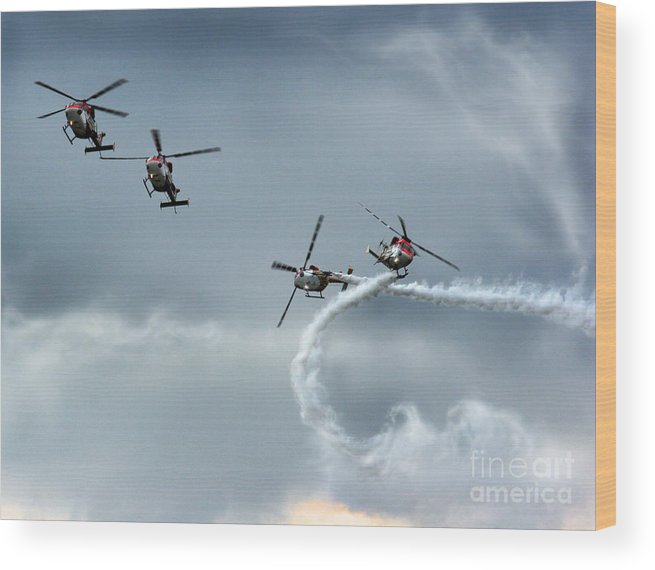 Airshow Wood Print featuring the photograph The Smoke And Propellers by Angel Ciesniarska
