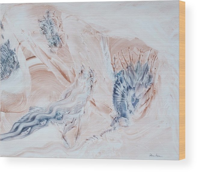Contemporary Abstract Expressionism Wood Print featuring the painting Tidal Treasures by Sharon Saxon