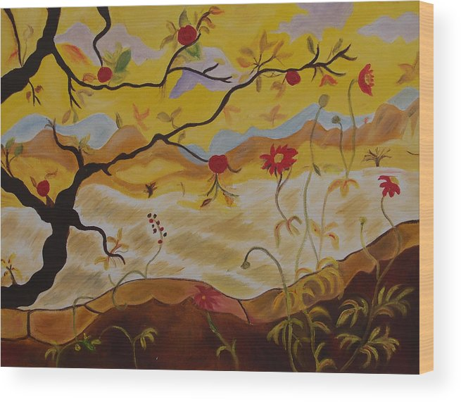 Wood Print featuring the painting Tree With Red Apple by ShilpiCreativeArts