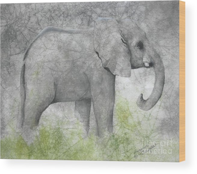 Elephant Wood Print featuring the painting Vanishing Thunder Series-baby Elephant II by Suzanne Schaefer