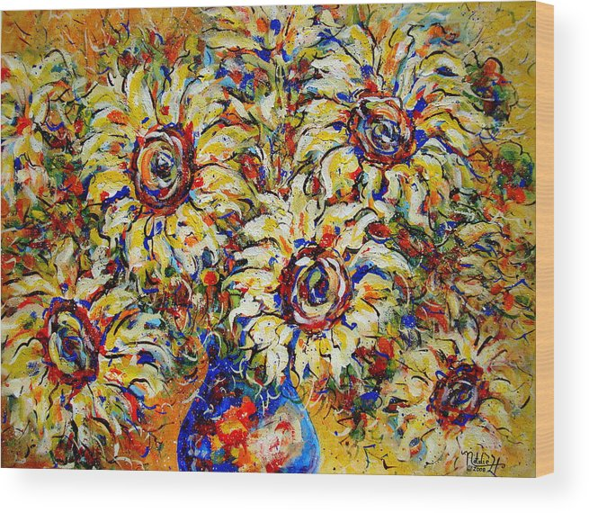 Flowers Wood Print featuring the painting Vibrant Sunflower Essence by Natalie Holland