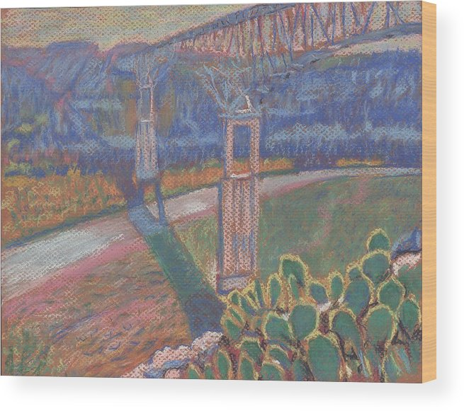 Pastel Wood Print featuring the painting West Of The Pecos by Horacio Prada