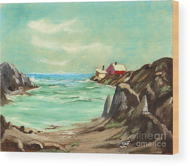 Ocean Bay Wood Print featuring the painting Blue Cove Serenity by Jessi and James Gault
