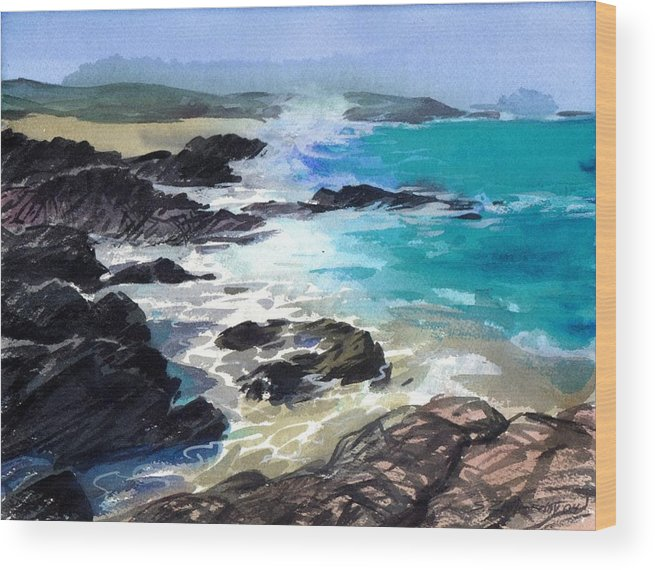 Seascape Wood Print featuring the painting Coast Line by Sergey Zhiboedov