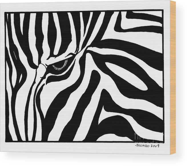 Black And White Wood Print featuring the drawing Eye Of The Zebra by Billinda Brandli DeVillez