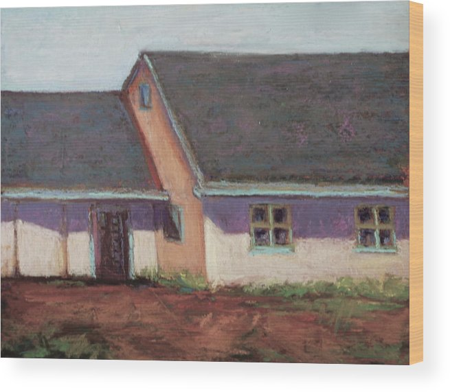 Landscape Wood Print featuring the pastel Horse Stables by Joyce A Guariglia