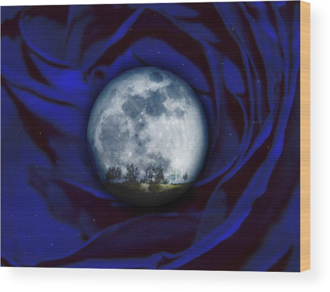 Moon Wood Print featuring the photograph Moon Has Rose by Jordan Carnaggio