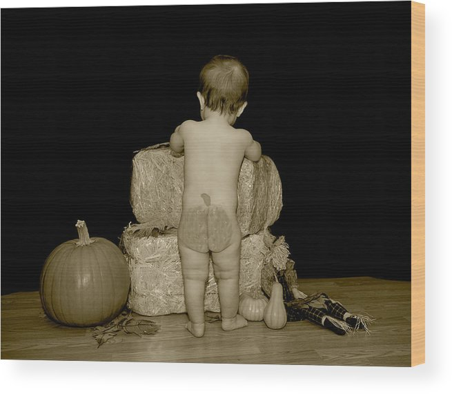 Asian Wood Print featuring the photograph Pumpkin Butt In Sepia by Malania Hammer