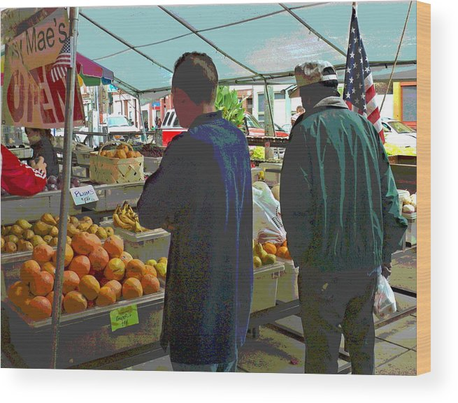 People Shopping Wood Print featuring the photograph Shopping At The Farmers Market by Jennifer Kelly