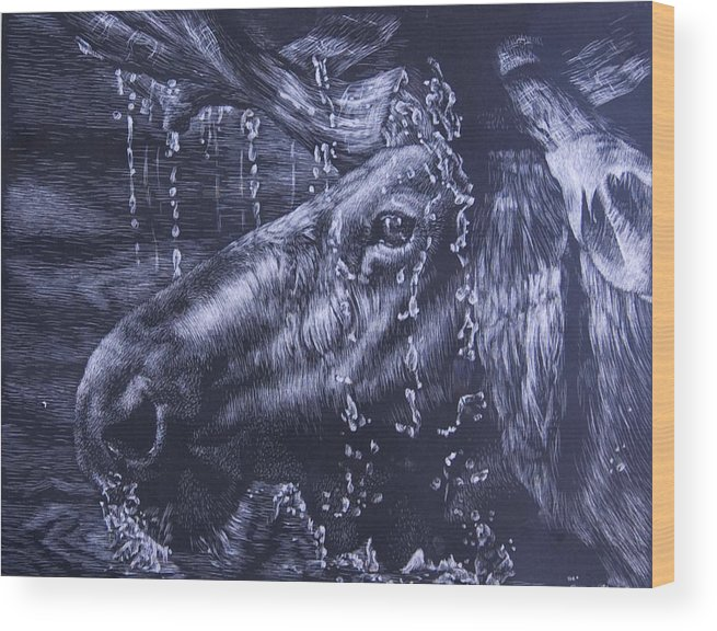 Scratchboard Wood Print featuring the mixed media Shower by Joanna Gates