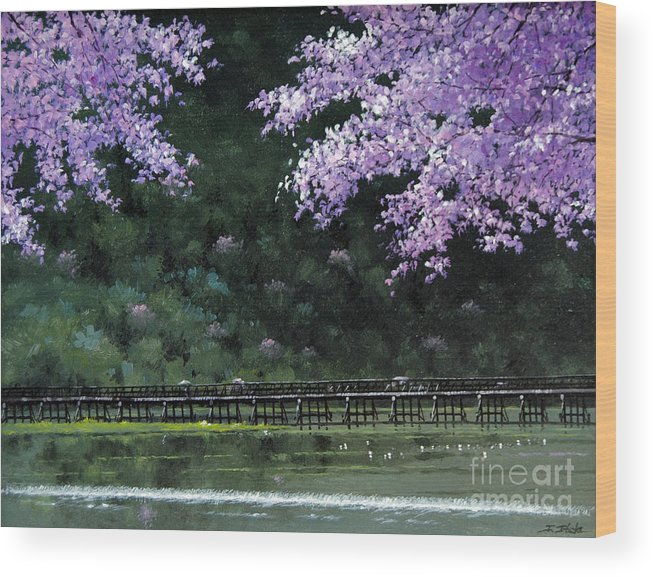 Cherry Wood Print featuring the painting Togetsukyo Bridege In Cherrybrossom by Isao Ito