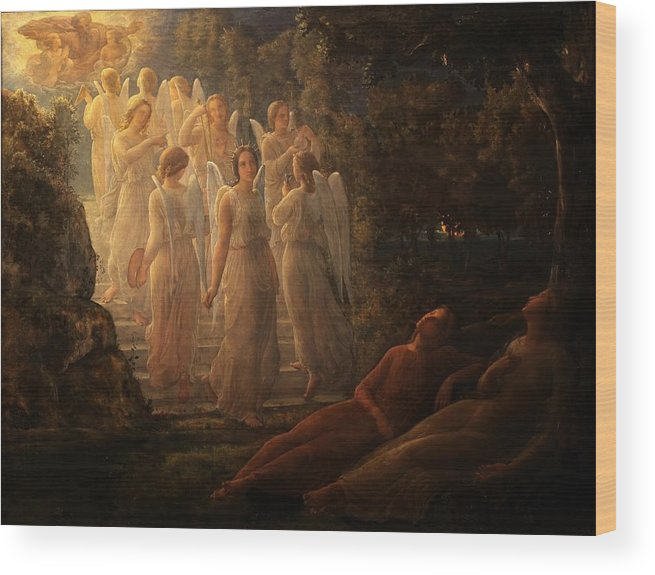 Louis Janmot - Poem Of The Soul 12 - The Golden Stairs Wood Print featuring the painting Poem Of The Soul by MotionAge Designs