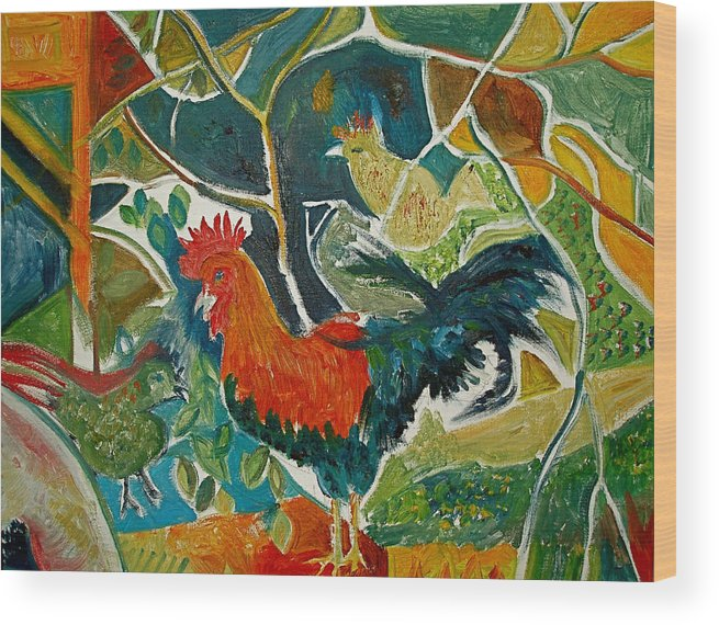 Cockerel Wood Print featuring the painting Bonjour Ma Jollie by Mike Shepley DA Edin