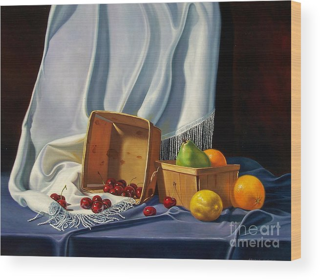 Still Life Wood Print featuring the painting Cherries On White by Arnold Hurley