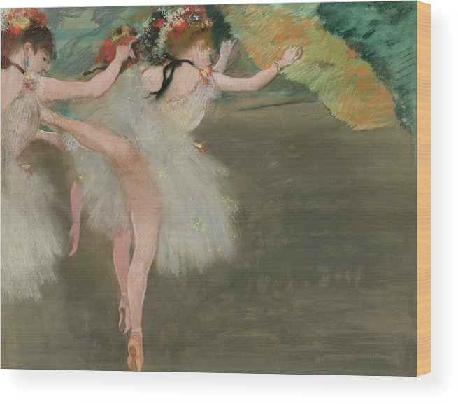 Dancers In White Wood Print featuring the painting Dancers In White by Edgar Degas