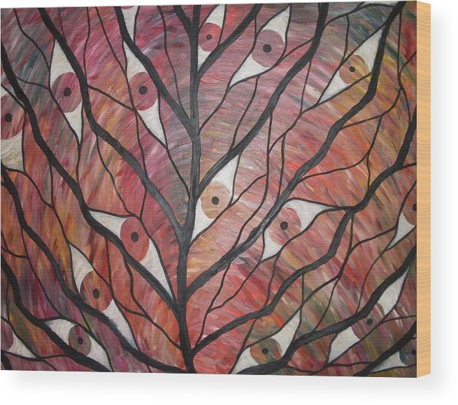 Surreal Tree Eyes Vision Landscape Wood Print featuring the painting Eye See by Sally Van Driest