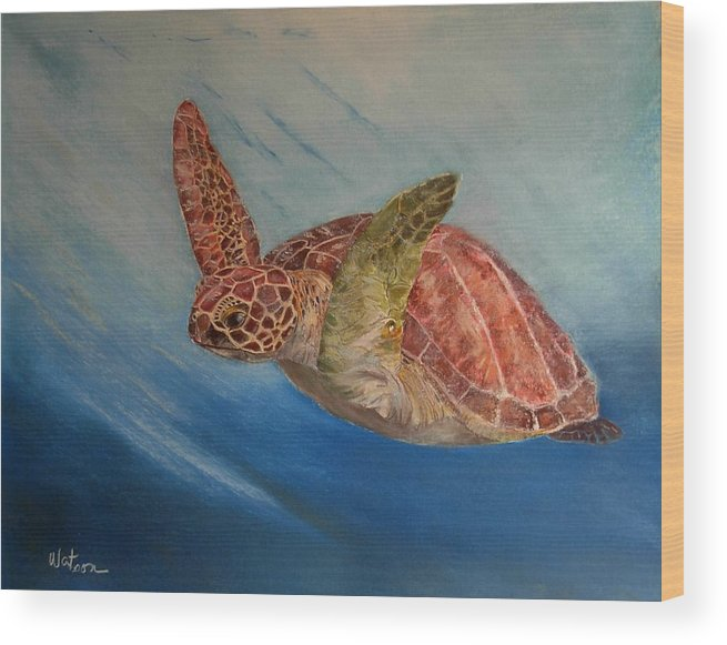 Green Trutle Wood Print featuring the painting Flying Underwater by Ceci Watson