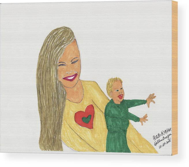 Mother Wood Print featuring the painting Love by Golden Dragon