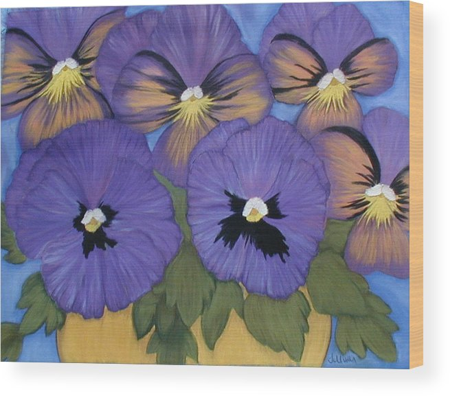 Pansy Wood Print featuring the pastel Pansy Power by Norma Tolliver