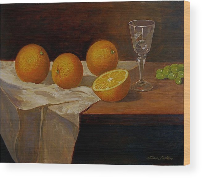 Still Life Oranges Grapes Cut Glass Wood Print featuring the painting Study Of Oranges by Alan Carlson