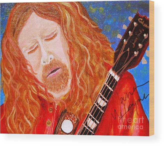 Warren Haynes Wood Print featuring the painting Warren Haynes by Angela Murray