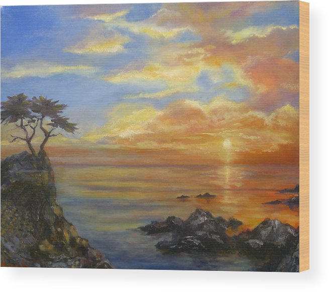Seascape Wood Print featuring the painting 17 Mile Sunset by Norah Brown