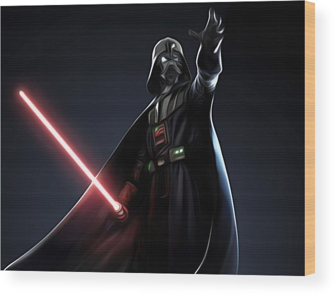 Star Wars Wood Print featuring the digital art Star Wars The Poster by Larry Jones