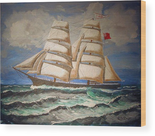 Tall Ship Wood Print featuring the painting 2 Master Tall Ship by Richard Le Page