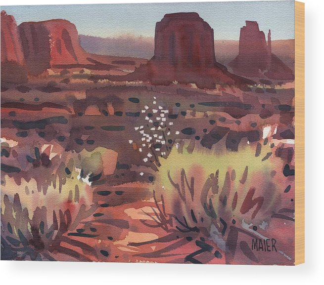 Monument Valley Wood Print featuring the painting Evening In Monument Valley by Donald Maier