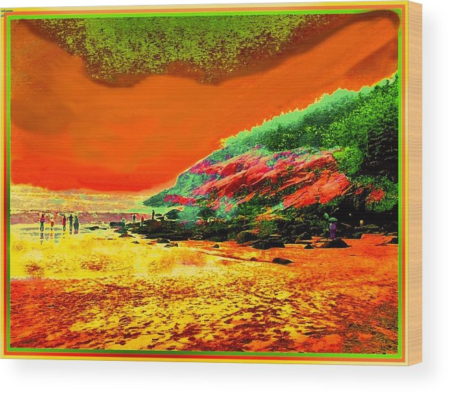 Colorful Landscape Wood Print featuring the painting 34g  Beach After A Storm by Ed Immar