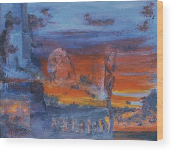 Abstract Wood Print featuring the painting A Mystery Of Gods by Steve Karol