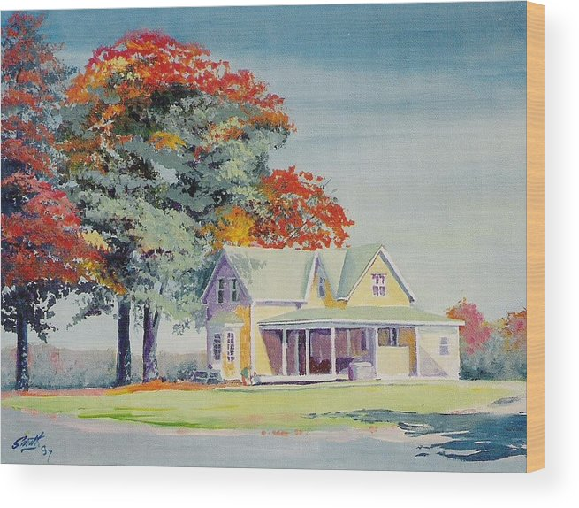 Landscape Wood Print featuring the painting A Touch Of Fall by Barry Smith