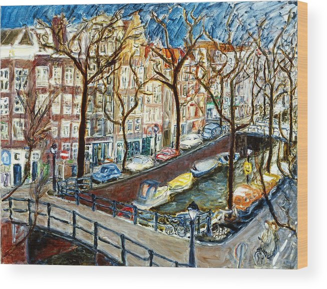 Cityscape Amsterdam Canal Trees Bridge Bicycle Water Sky Netherlands Boats Wood Print featuring the painting Amsterdam Canal by Joan De Bot