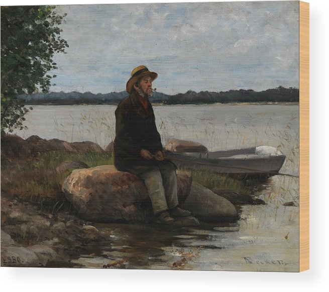 Angler Wood Print featuring the painting An Angler Ca. 1890 by Adolf Von Becker