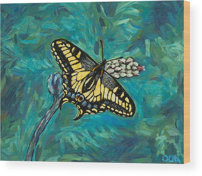 Wood Print featuring the painting Anise Swallowtail by Steve Lawton