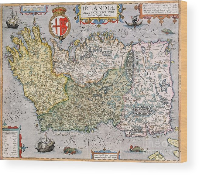 Map Of Ireland Print.Antique Map Of Ireland Wood Print By English School