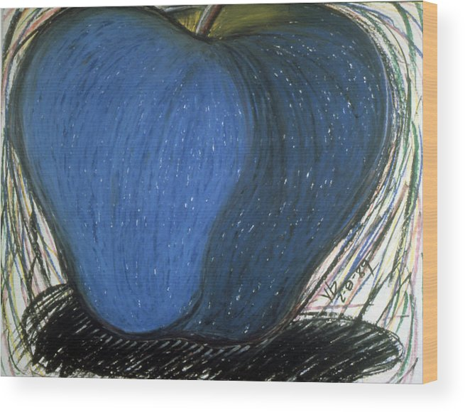Apple Wood Print featuring the drawing Apple Series 003 by Phil Rodriguez