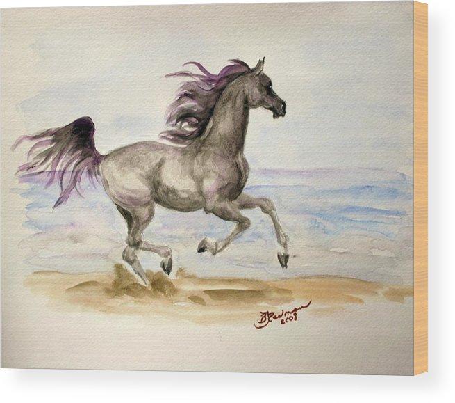 Arabian Wood Print featuring the painting Arabian In Wind by BJ Redmond