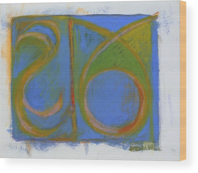 Abstract Arc Wood Print featuring the painting Arc Drawing 4 by Ruth Sharton